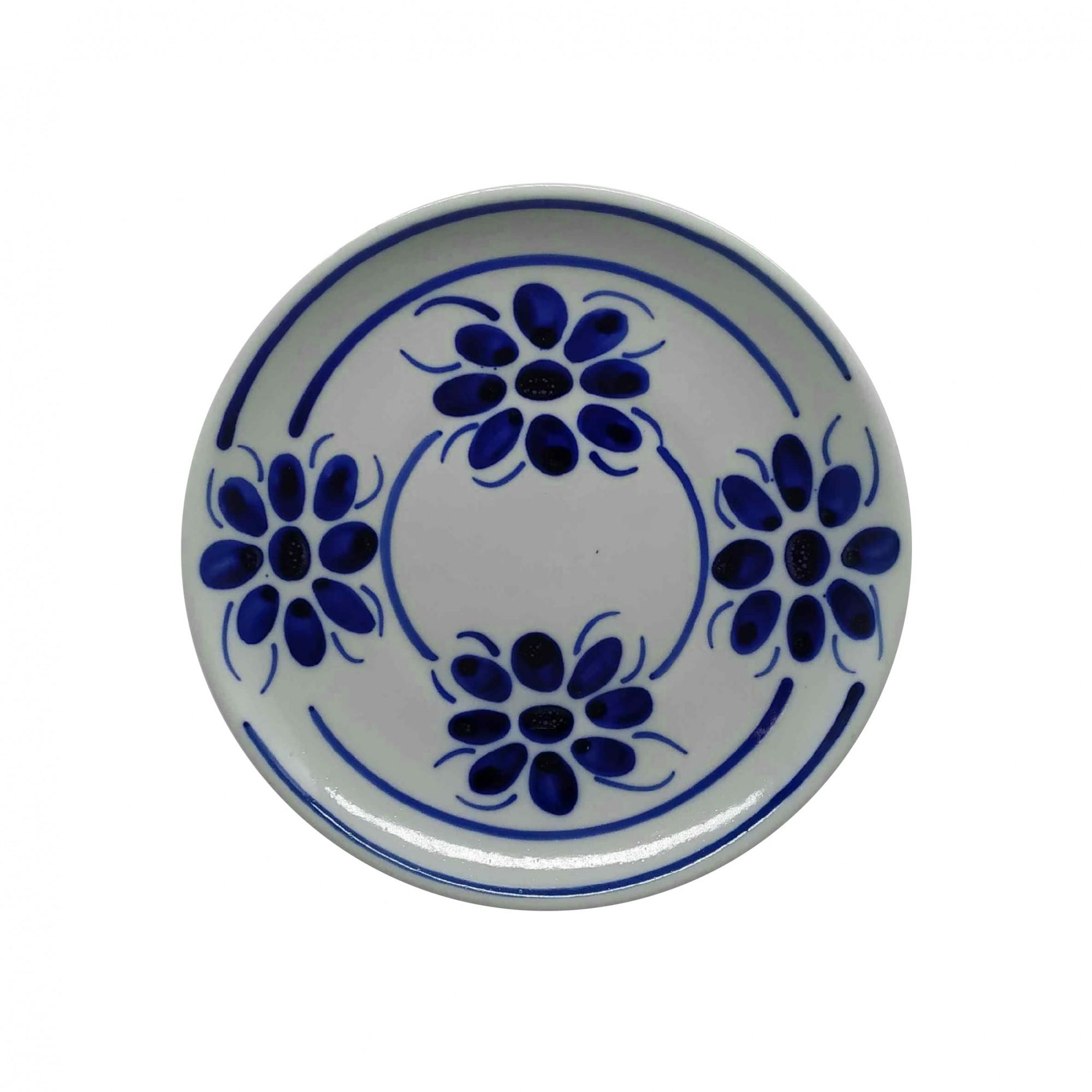 Prato de Sobremesa 18,5 cm em Porcelana Azul Floral