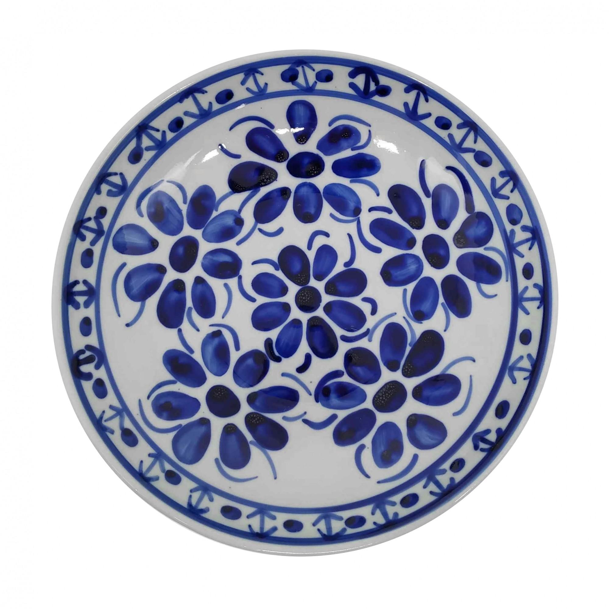 Prato Fundo 22,5 cm Porcelana Azul Colonial