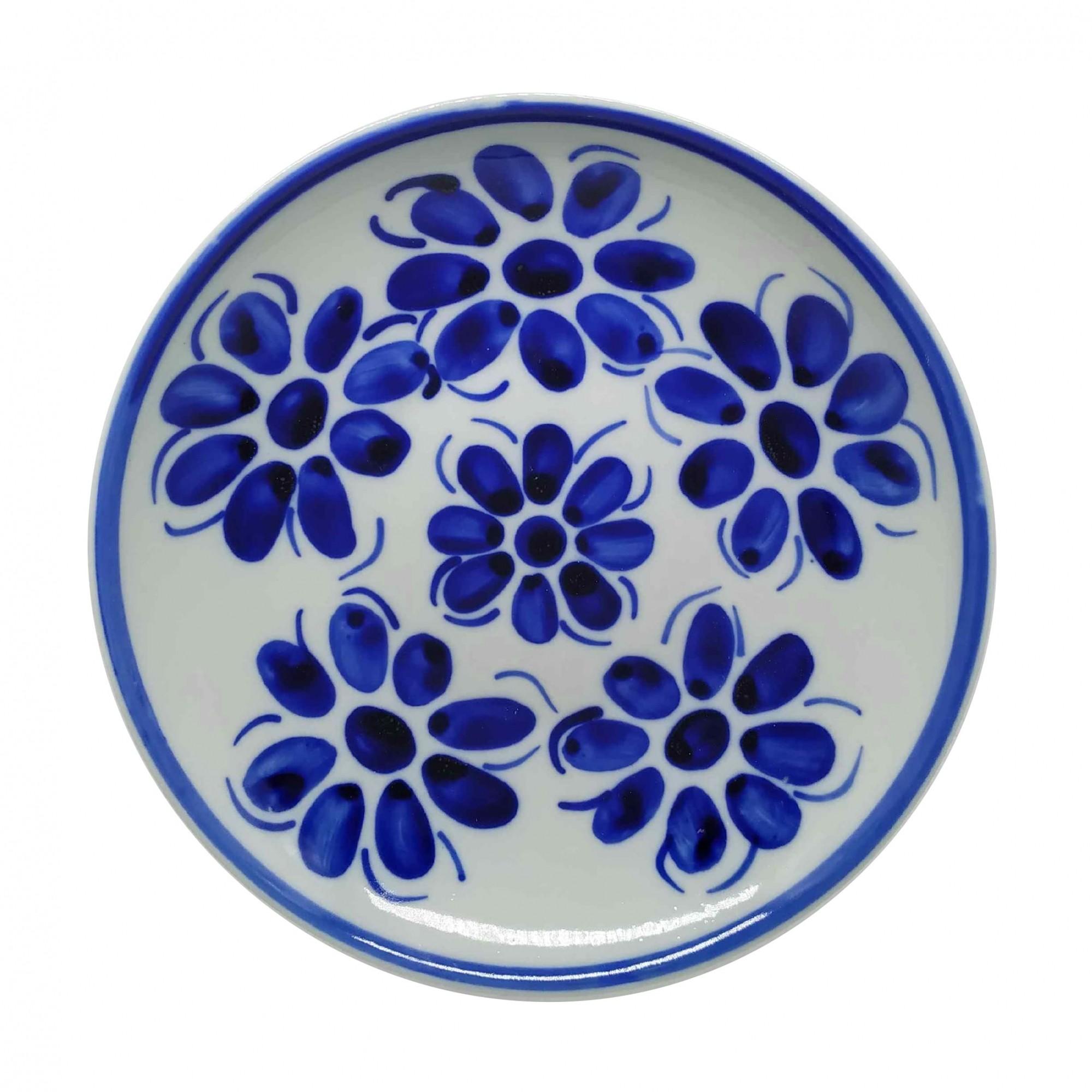 Prato Fundo 22,5 cm Porcelana Azul Vintage