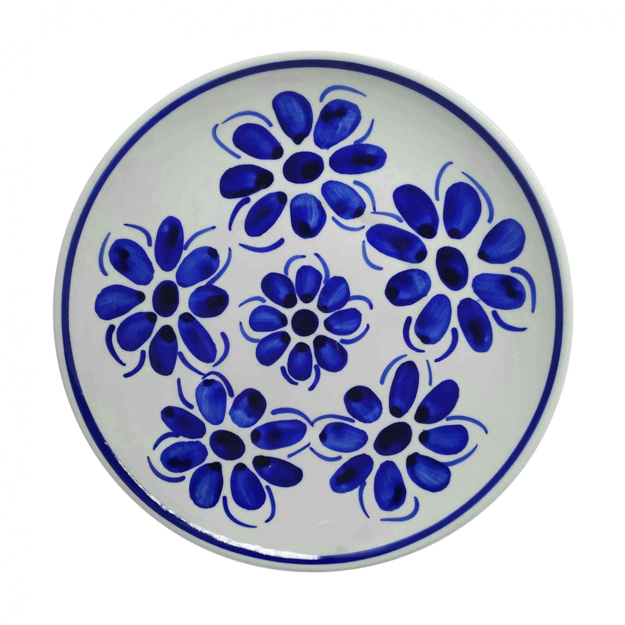 Prato Raso 22,5 cm Porcelana Azul Vintage