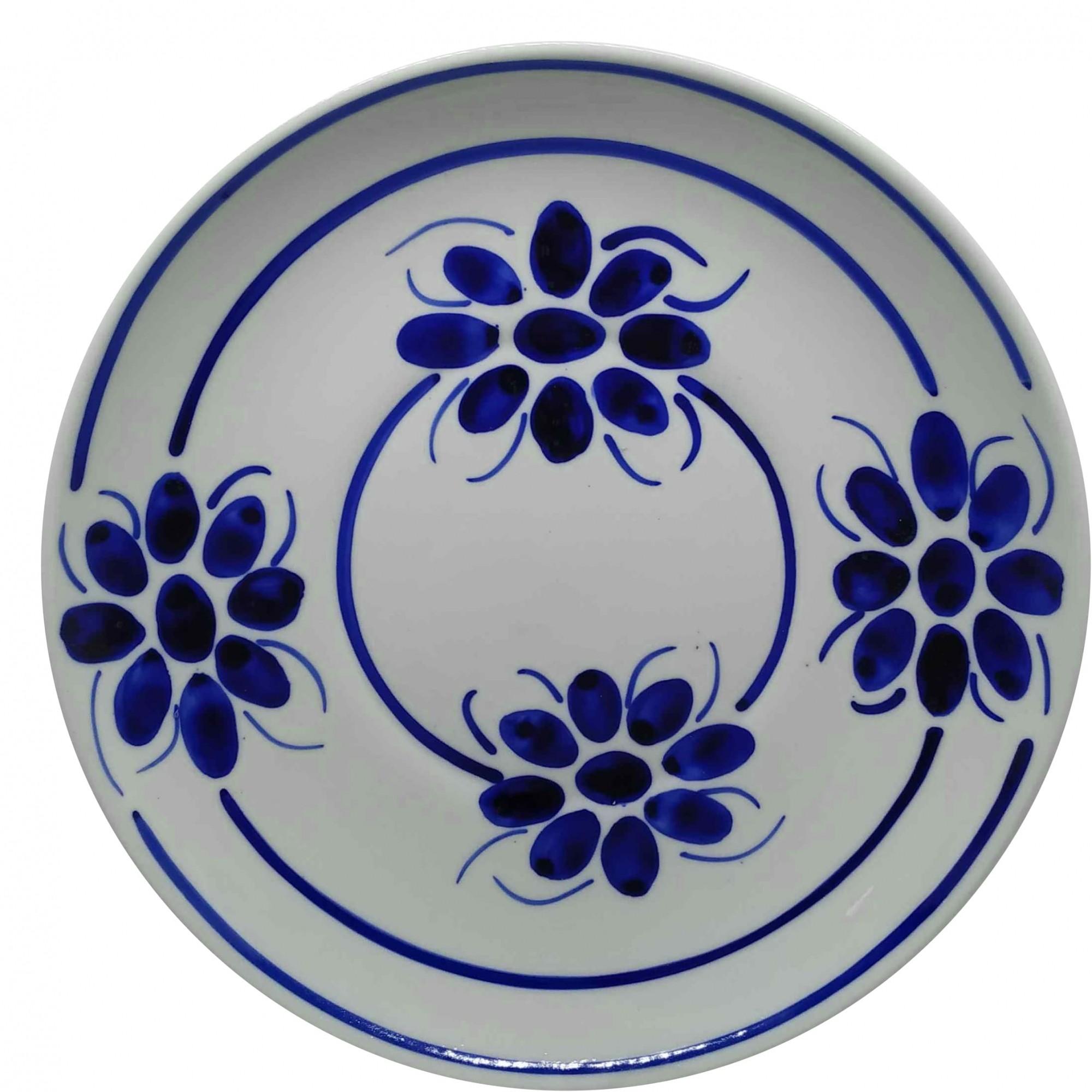 Prato Raso 26,5 cm Porcelana Azul Floral