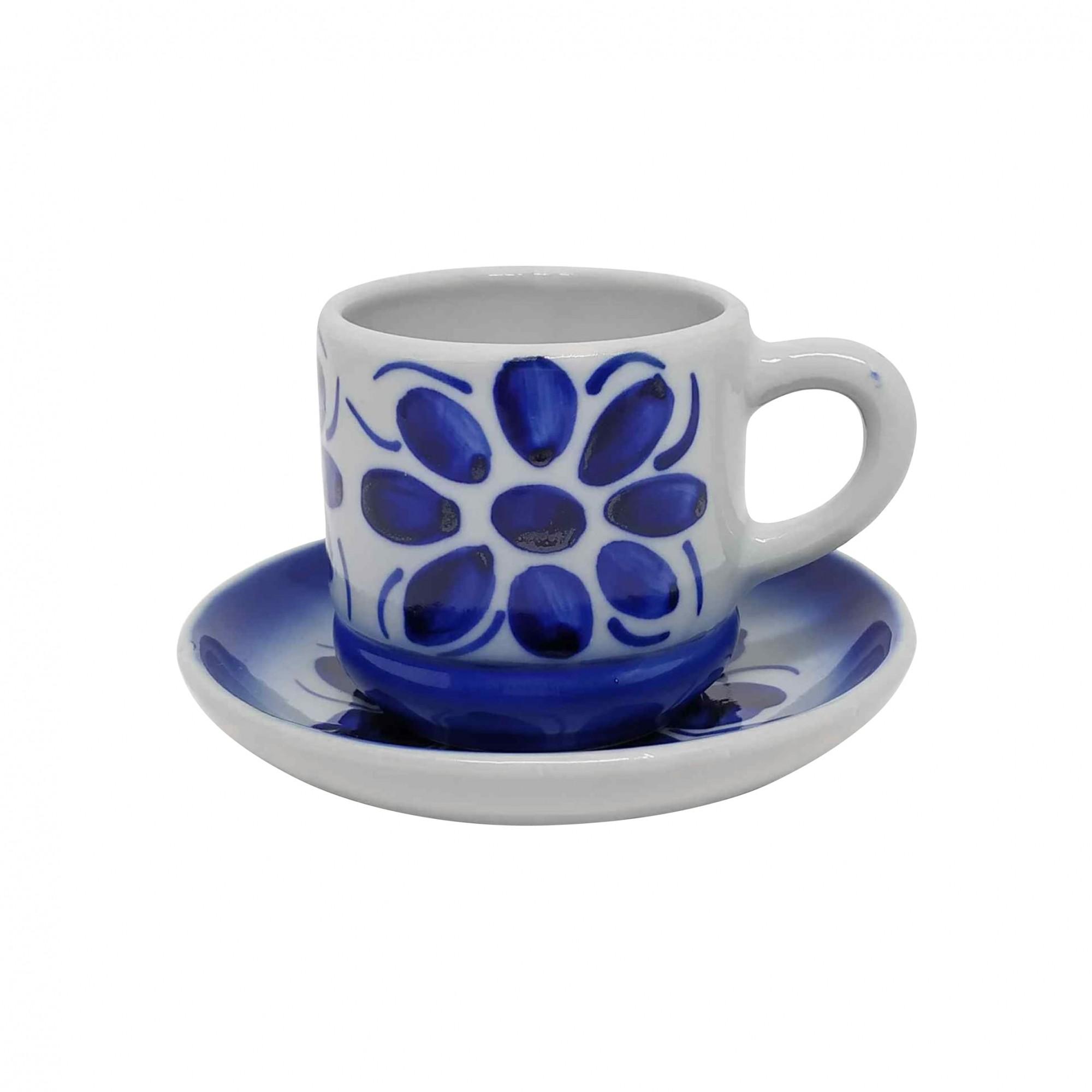 Xícara de Café e Pires em Porcelana Azul Colonial 80 ml