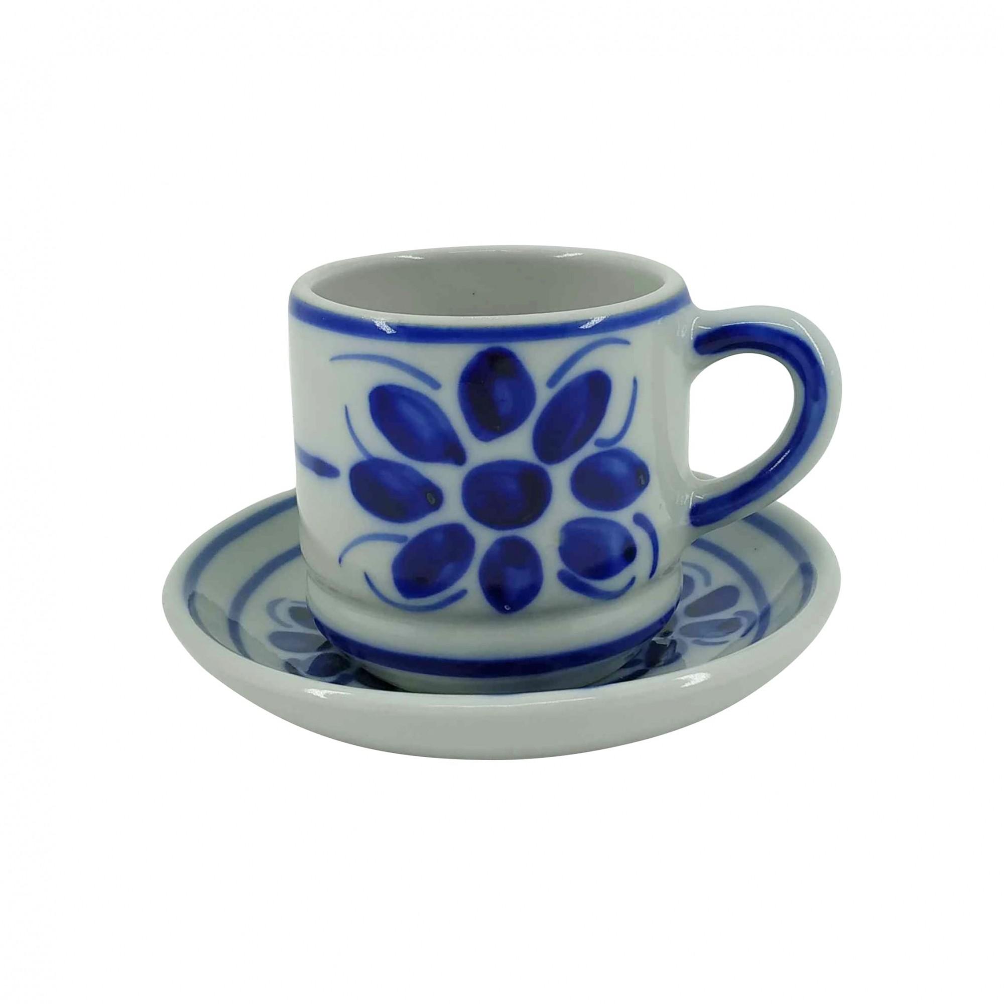 Xícara de Café e Pires em Porcelana Azul Floral 80 ml