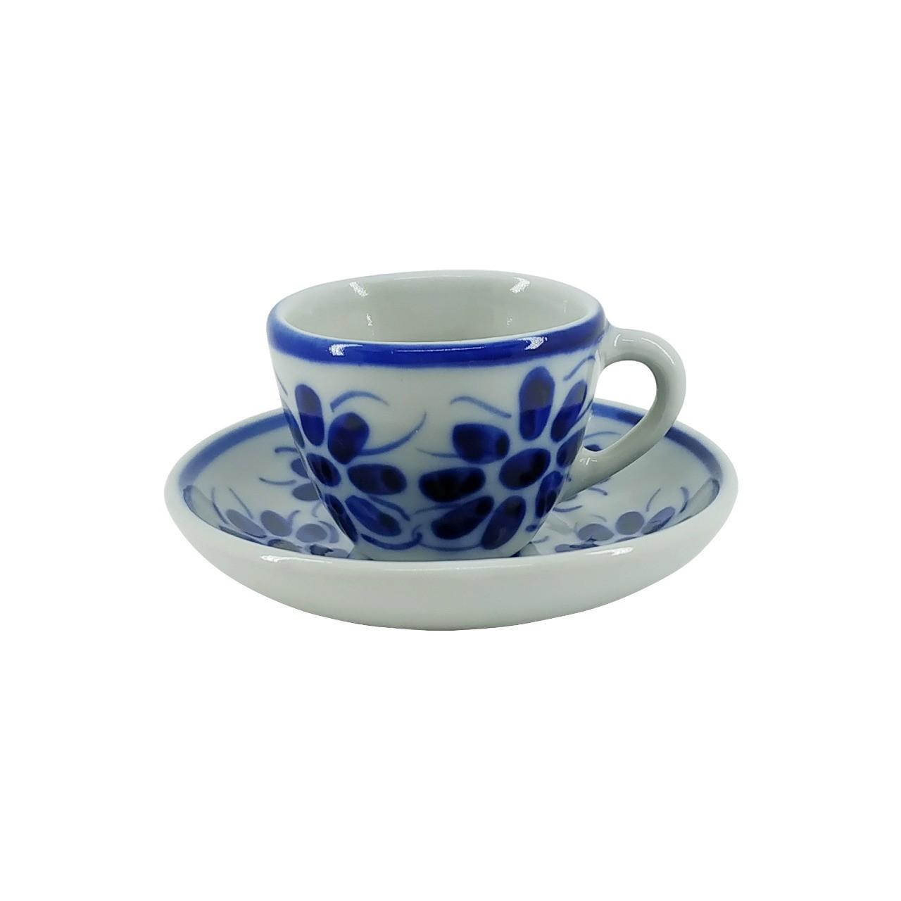 Xícara de Café e Pires em Porcelana Azul Vintage 50 ml
