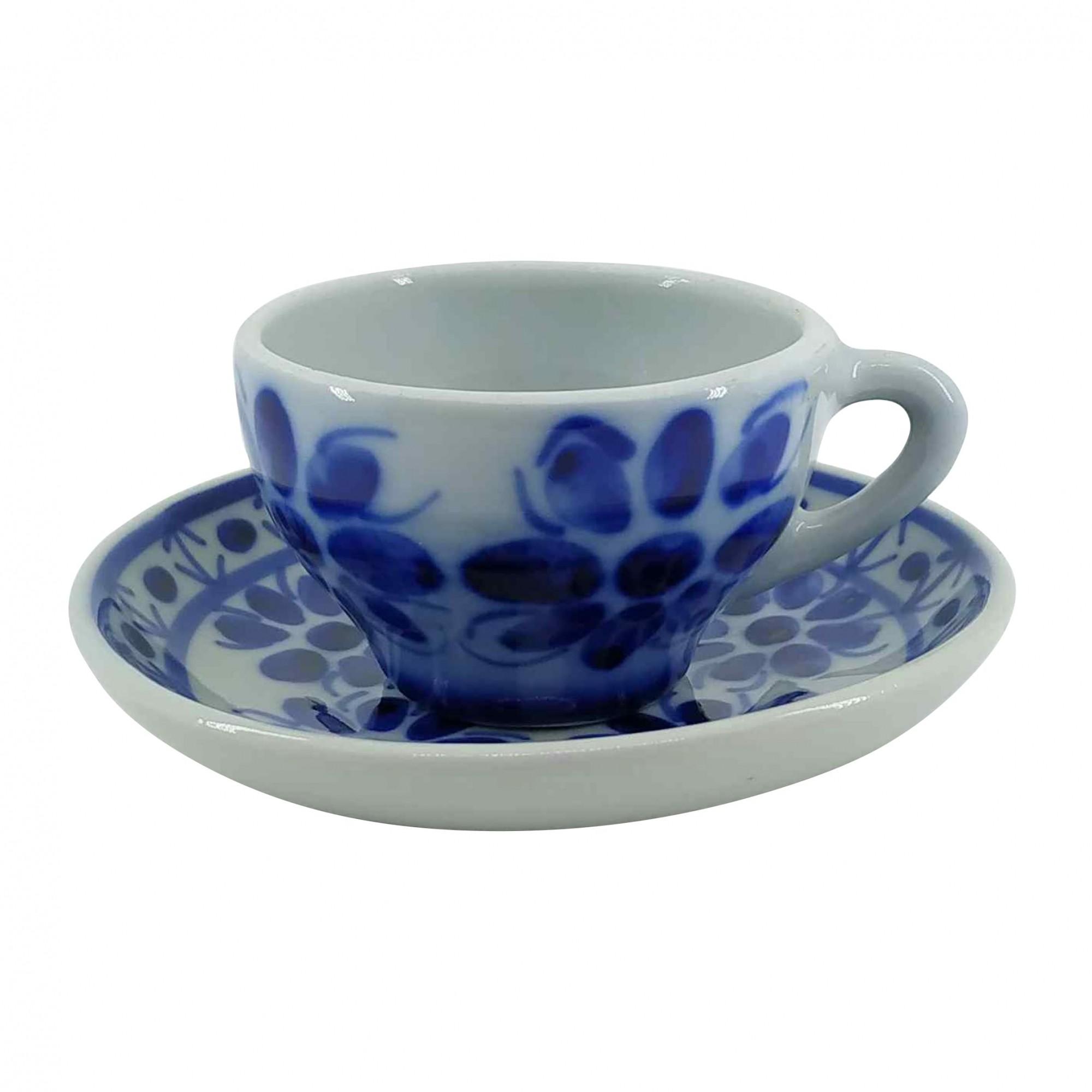 Xícara de Chá 120 ml e Pires em Porcelana Azul Colonial
