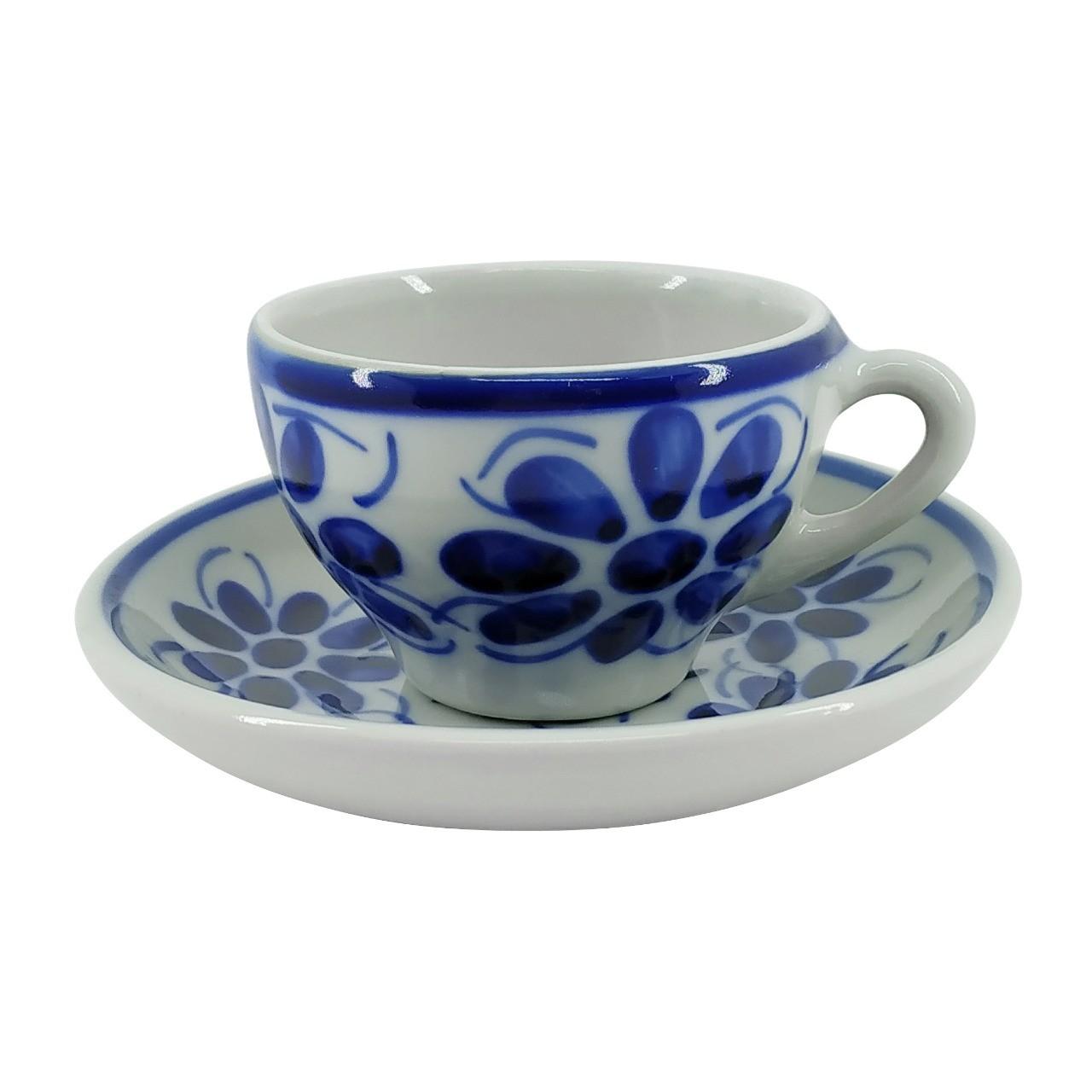 Xícara de Chá 120 ml e Pires em Porcelana Azul Vintage