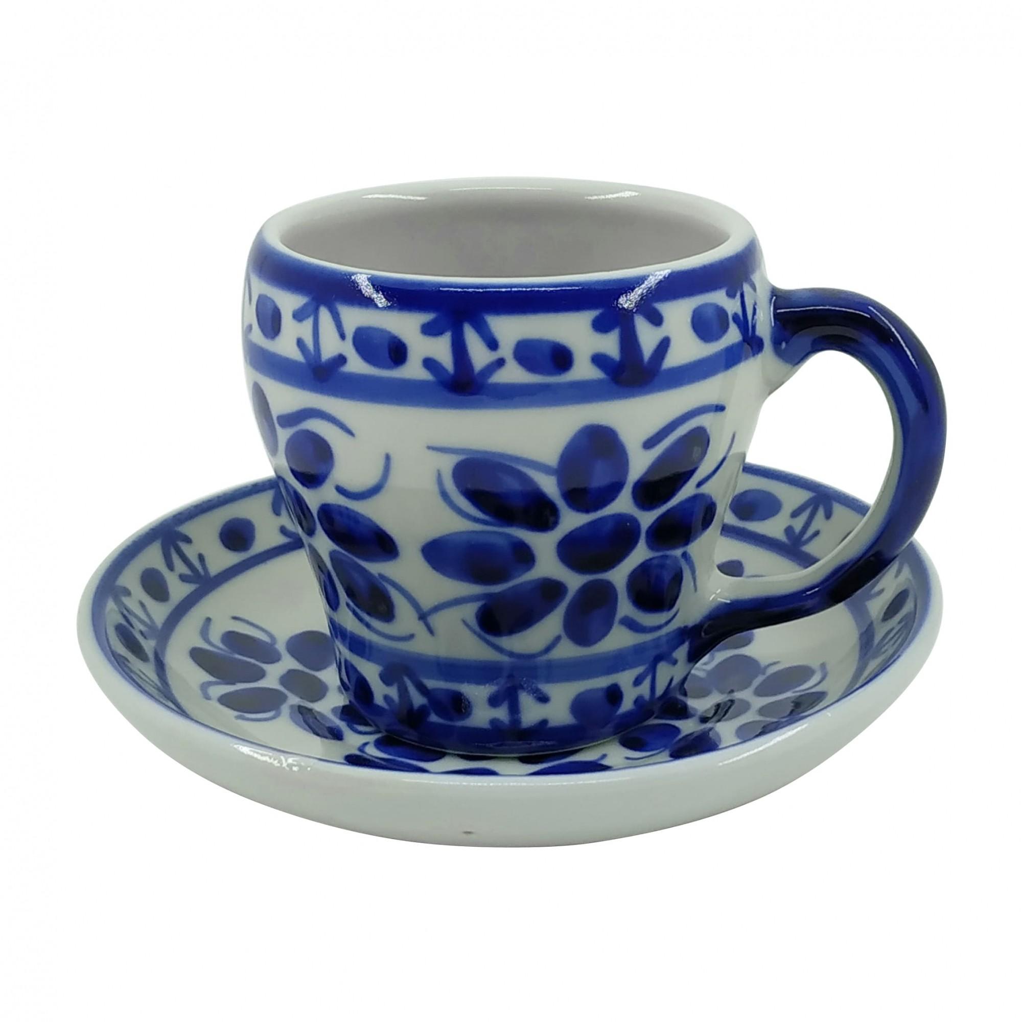 Xícara de Chá 200 ml e Pires em Porcelana Azul Colonial