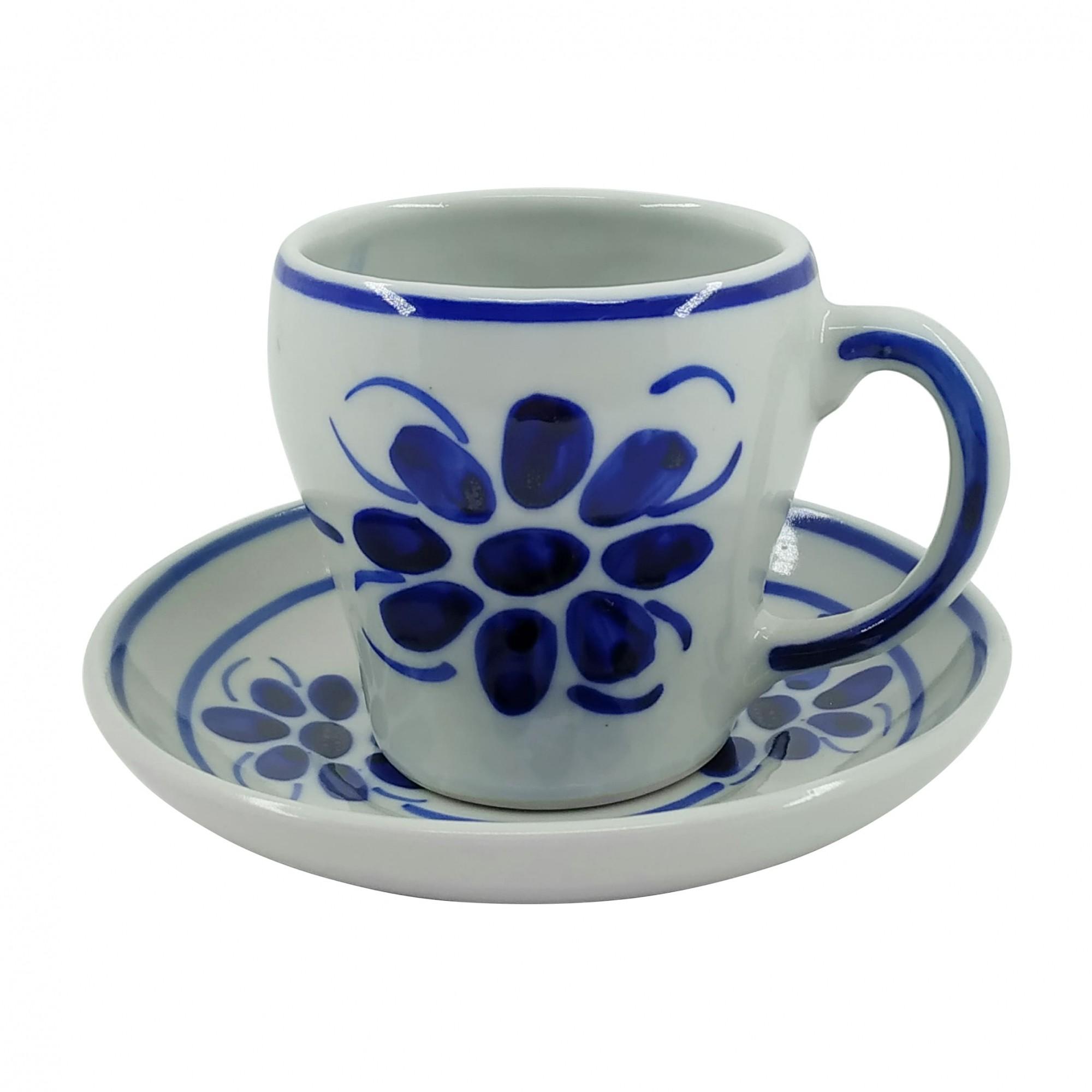 Xícara de Chá 200 ml e Pires em Porcelana Azul Floral