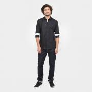 Camisa social Santos - preta/branca