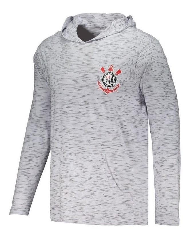 Camisa Corinthians Manga Longa com Capuz Cinza - Masculino