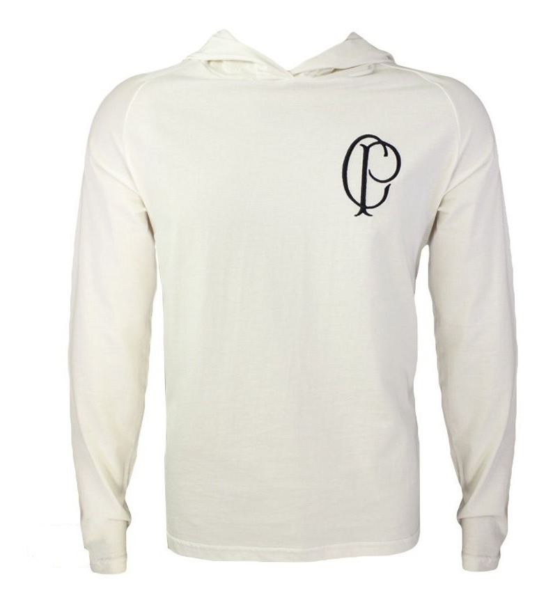 Camisa Corinthians Manga Longa Com Capuz SCCP - Creme