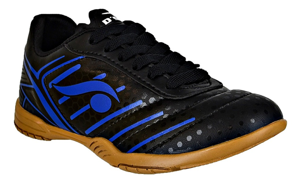 Chuteira futsal DSIX - preta com azul