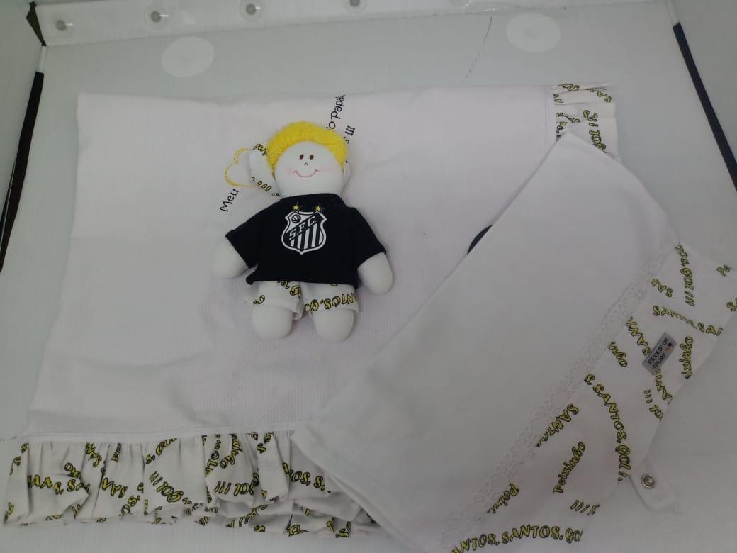 Kit Santos menino manta + toalha de boca + boneco torcedor REVEDOR