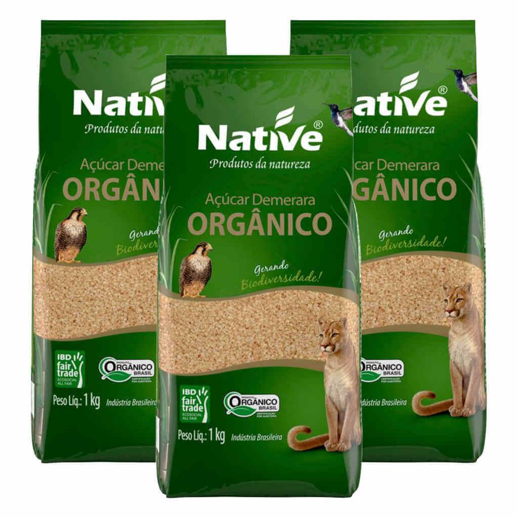 Açúcar Demerara Orgânico 1kg - Native (Kit c/ 3 unidades)  - Raiz Nativa - Loja de Produtos Naturais e Orgânicos Online
