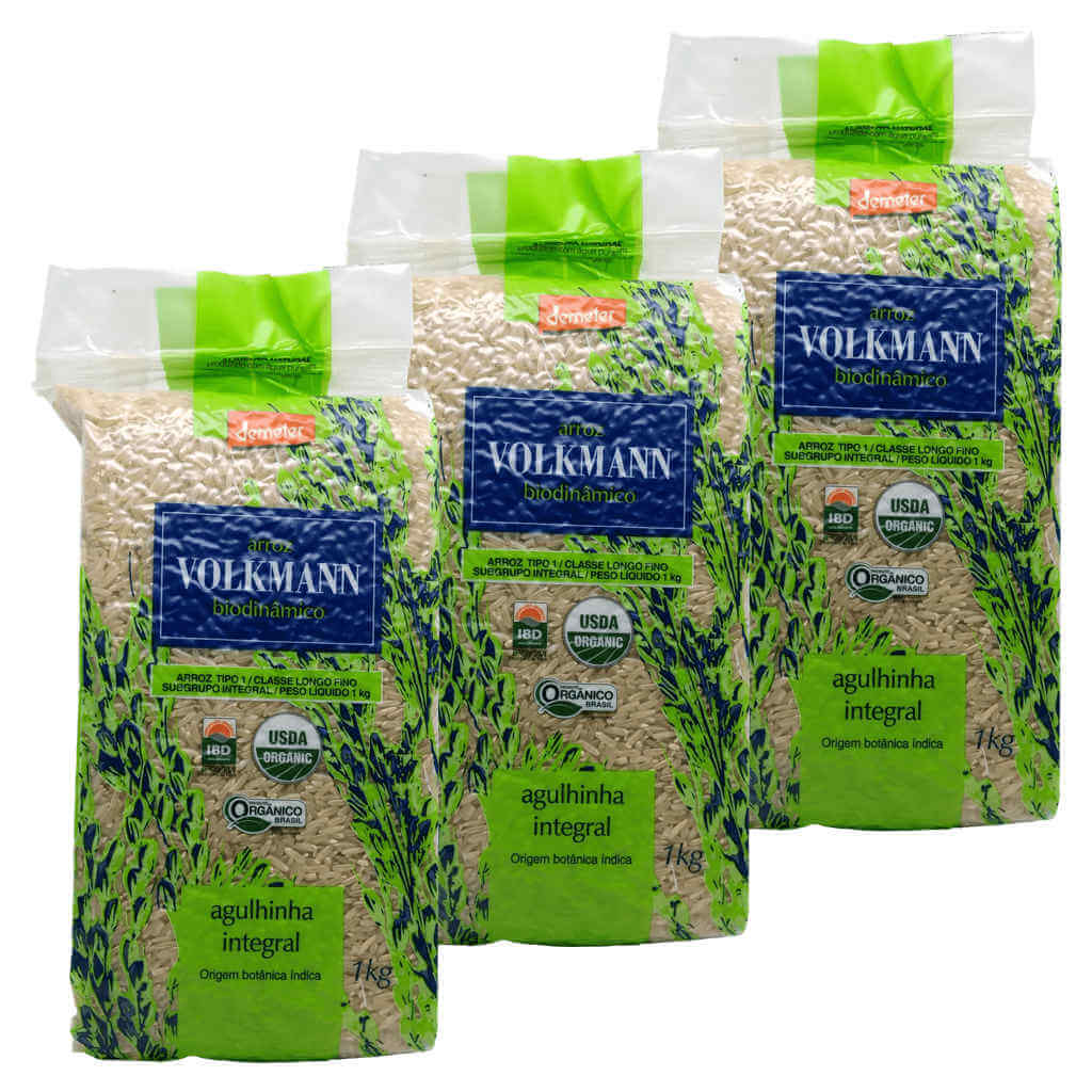 Arroz Agulhinha Integral Orgânico e Biodinâmico 1kg - Volkmann (Kit c/ 3)
