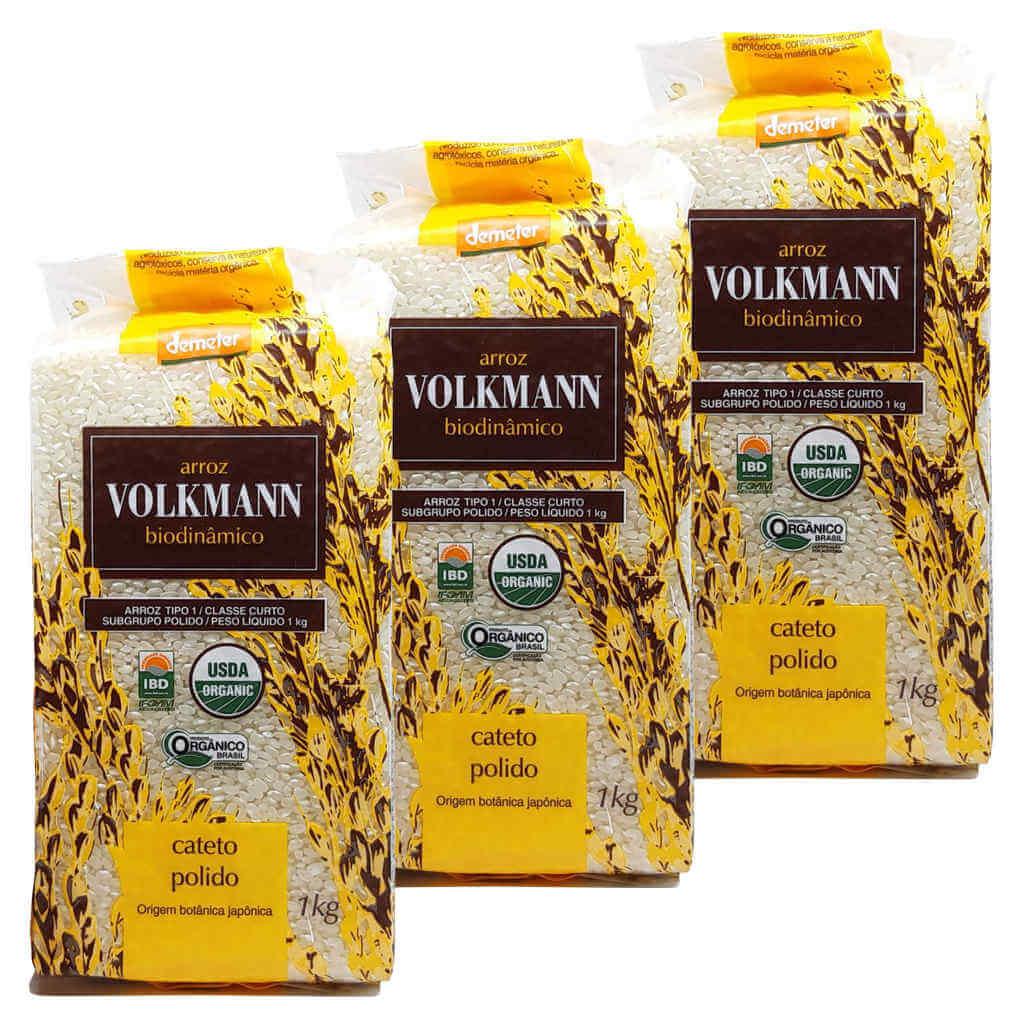 Arroz Cateto Polido Orgânico e Biodinâmico 1kg - Volkmann (Kit c/ 3 unidades)