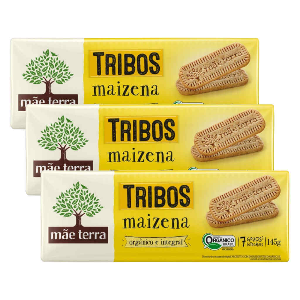 Biscoito Maizena Orgânico Tribos 145g - Mãe Terra (Kit c/ 3 pacotes)  - Raiz Nativa - Loja de Produtos Naturais e Orgânicos Online