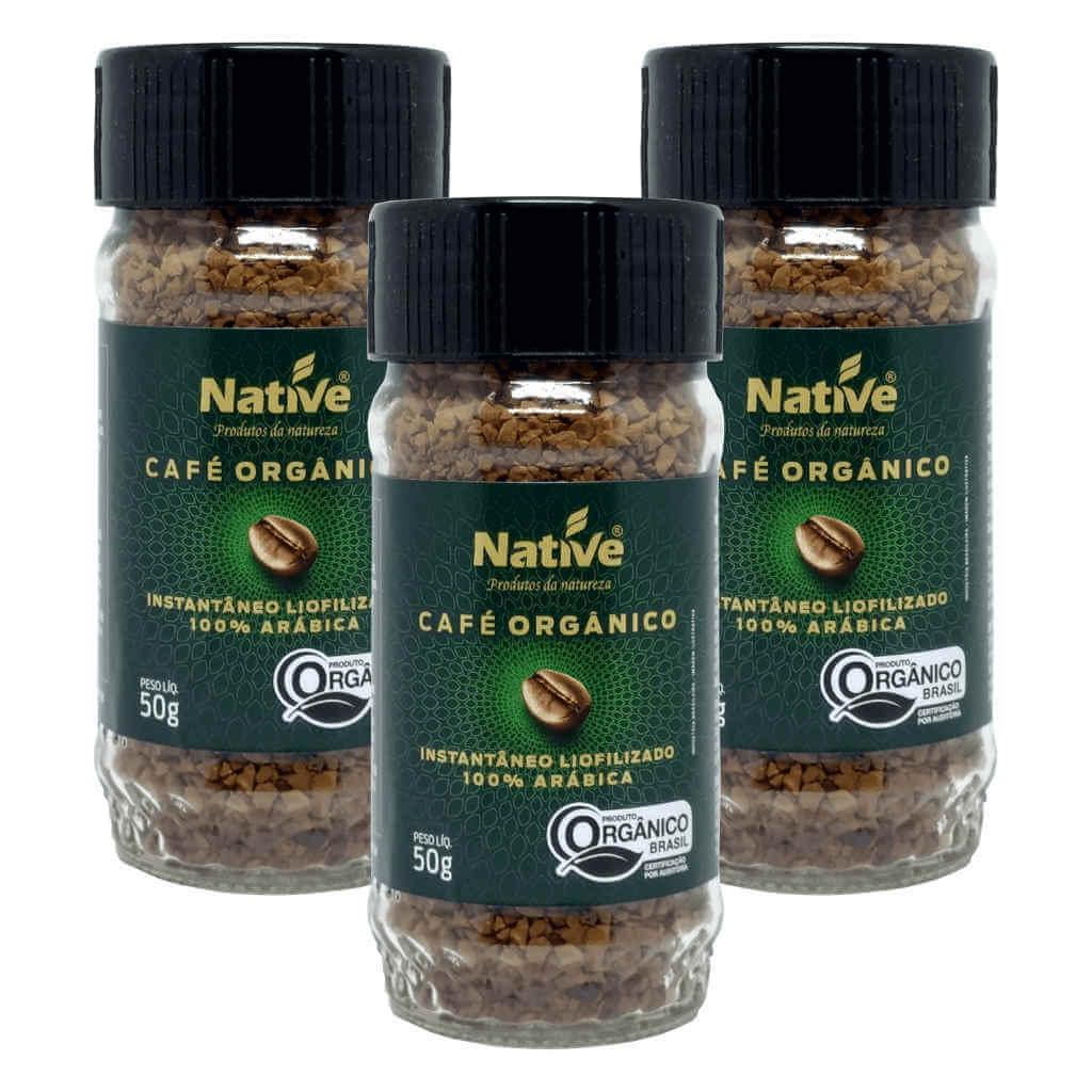 Café Liofilizado Solúvel Instantâneo Orgânico 50g - Native (Kit c/ 3 unidades)  - Raiz Nativa - Loja de Produtos Naturais e Orgânicos Online