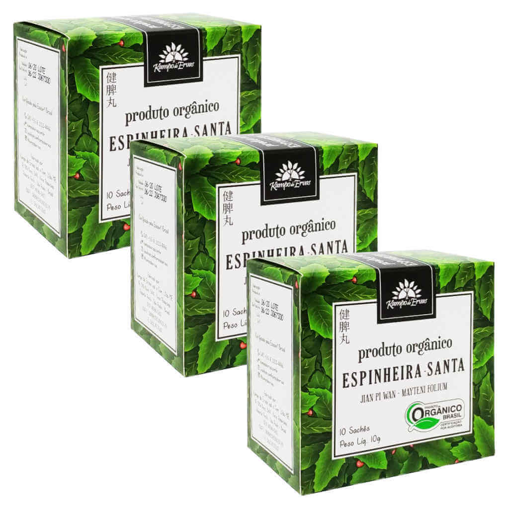 Chá de Espinheira Santa Orgânico - Kampo de Ervas (Kit c/ 30 sachês)  - Raiz Nativa - Loja de Produtos Naturais e Orgânicos Online