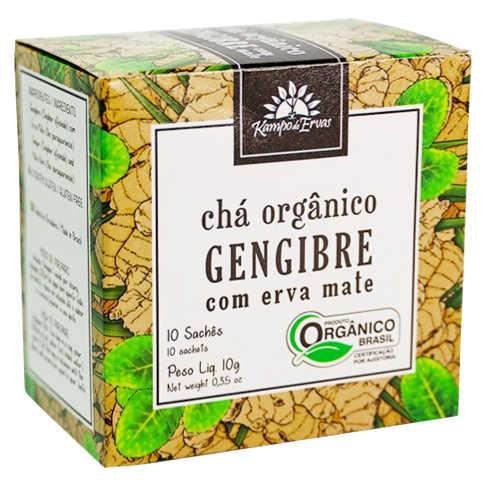 Chá de Gengibre e Mate Orgânico 10 Sachês - Kampo de Ervas  - Raiz Nativa - Loja de Produtos Naturais e Orgânicos Online
