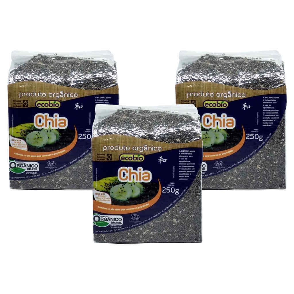 Chia em Grãos Orgânica 250g - Ecobio (Kit c/ 3 unidades)