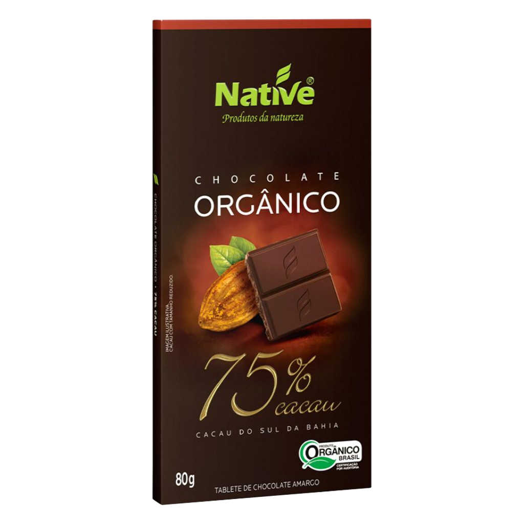 Chocolate Orgânico 75% Cacau 80g - Native