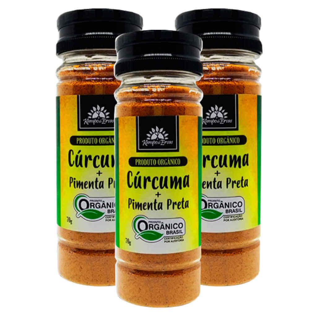 Cúrcuma com Pimenta Preta Orgânica em Pó 70g - Kampo de Ervas (Kit c/ 3 potes)  - Raiz Nativa - Loja de Produtos Naturais e Orgânicos Online