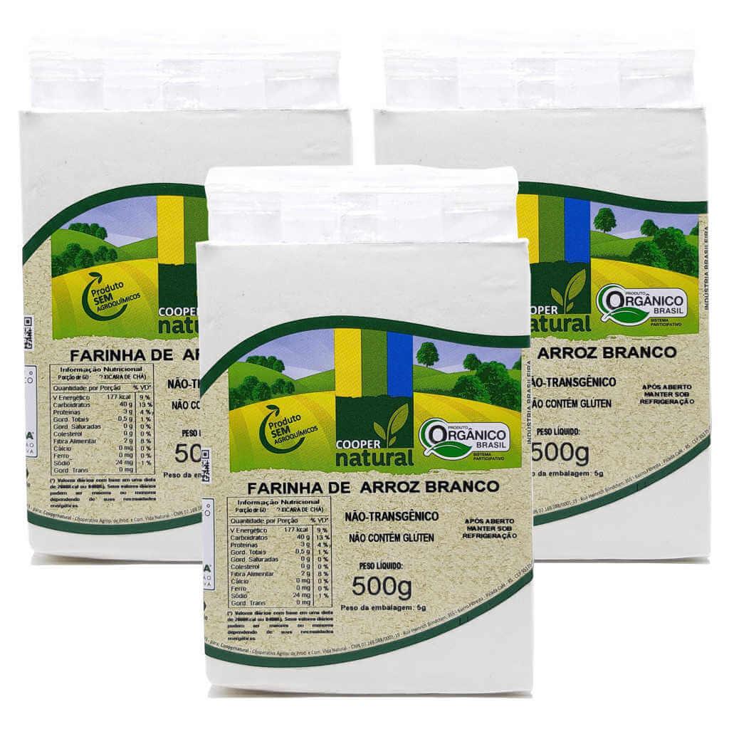 Farinha de Arroz Branco Orgânica 500g - Coopernatural (Kit c/ 3 unidades)  - Raiz Nativa - Loja de Produtos Naturais e Orgânicos Online