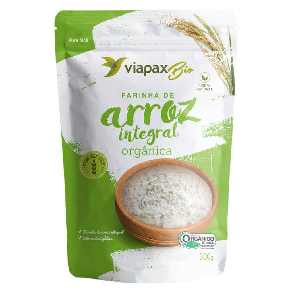 Farinha de Arroz Integral Orgânica 300g - Viapax Bio (Kit c/ 3 unidades)  - Raiz Nativa - Loja de Produtos Naturais e Orgânicos Online