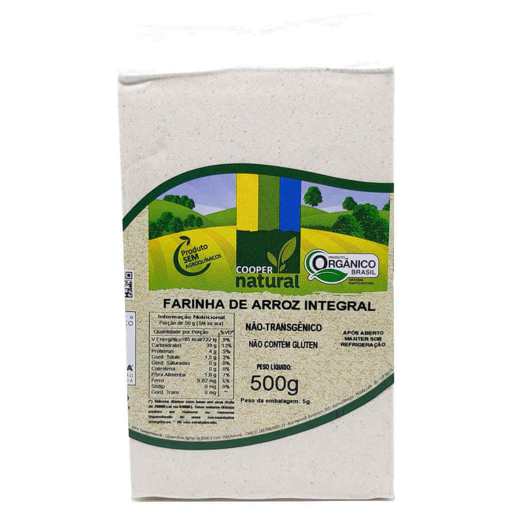 Farinha de Arroz Integral Orgânica 500g - Coopernatural