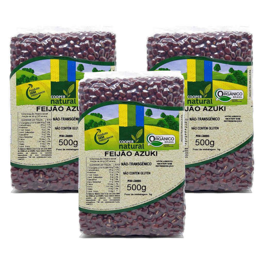 Feijão Azuki Orgânico 500g - Coopernatural (Kit c/ 3 unidades)  - Raiz Nativa - Loja de Produtos Naturais e Orgânicos Online