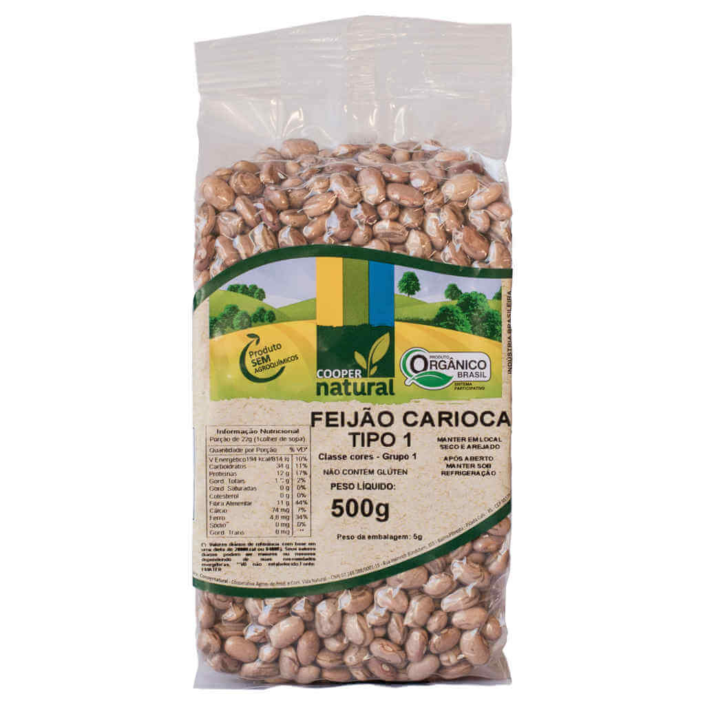 Feijão Carioca Orgânico 500g - Coopernatural (Kit c/ 3 unidades)