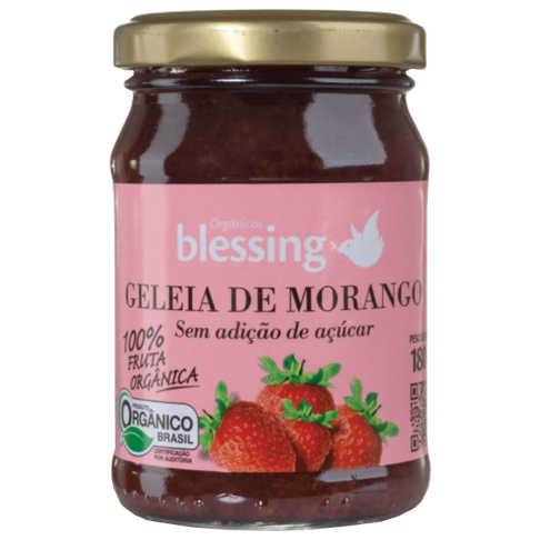 Geleia de Morango Sem Açúcar Orgânica 180g - Blessing  - Raiz Nativa - Loja de Produtos Naturais e Orgânicos Online
