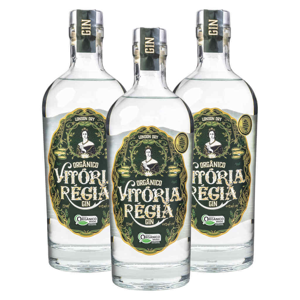 Gin Orgânico 750ml - Vitória Régia (Kit c/ 3 garrafas)  - Raiz Nativa - Loja de Produtos Naturais e Orgânicos Online