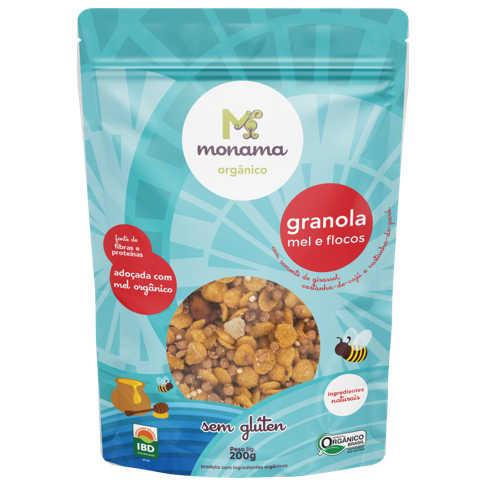 Granola Orgânica Sem Glúten Flocos e Mel 200g - Monama  - Raiz Nativa - Loja de Produtos Naturais e Orgânicos Online
