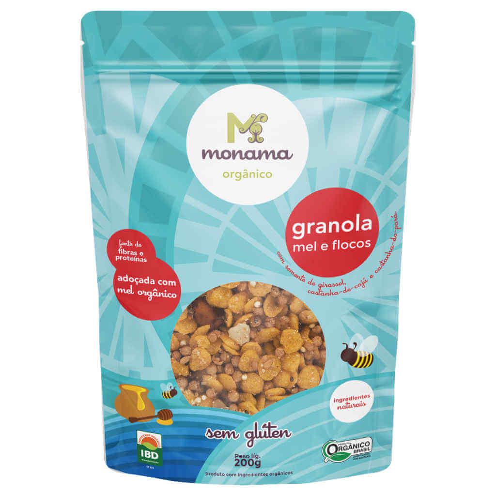 Granola Orgânica Sem Glúten Flocos e Mel 200g - Monama (Kit c/ 3 unidades)  - Raiz Nativa - Loja de Produtos Naturais e Orgânicos Online