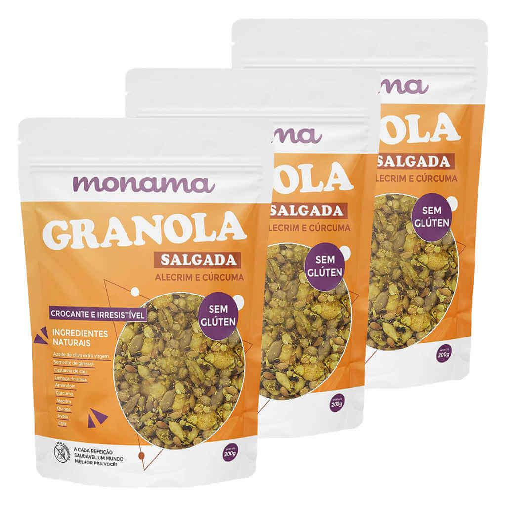 Granola Salgada de Alecrim e Cúrcuma 200g - Monama (Kit c/ 3 unidades)