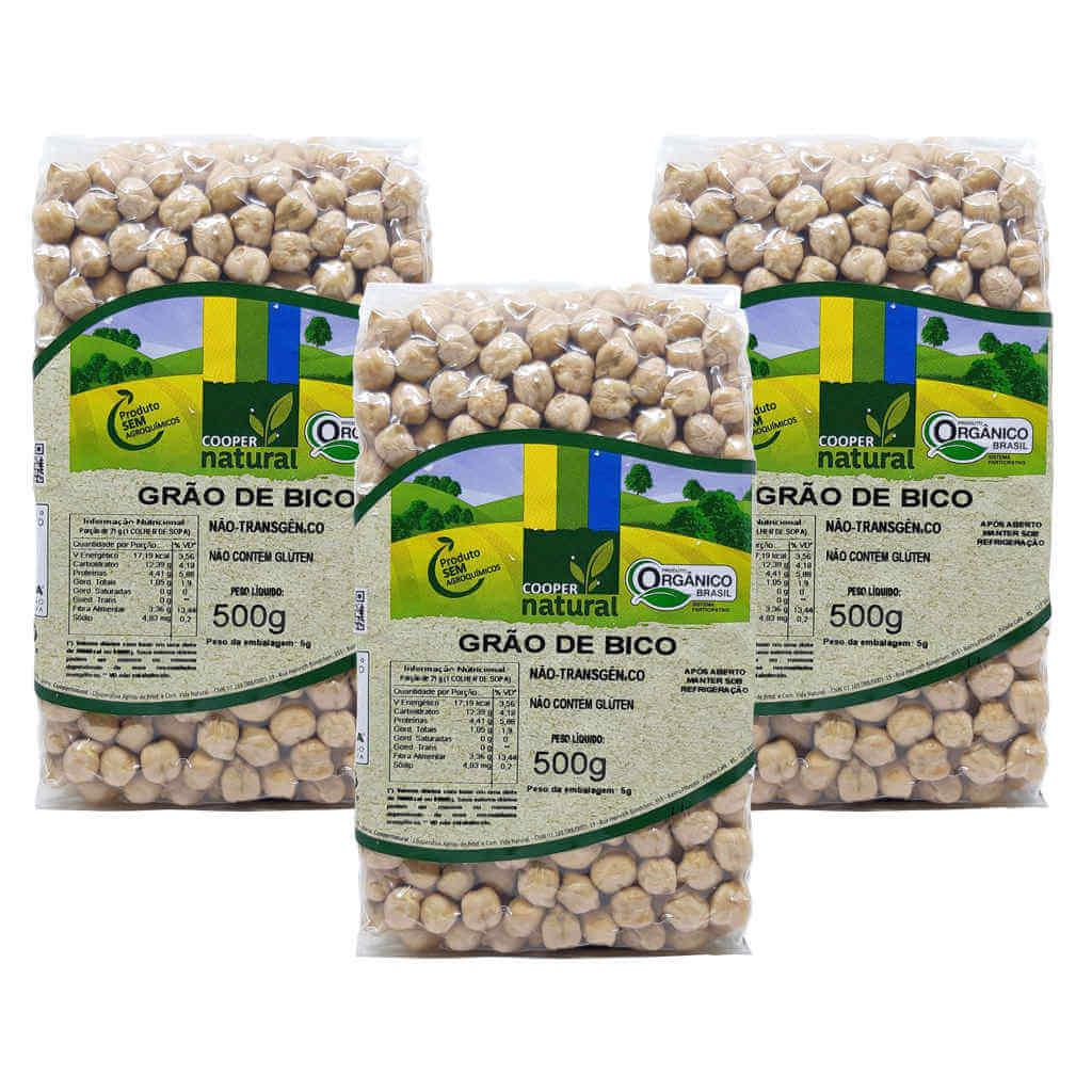 Grão de Bico Orgânico 500g - Coopernatural (Kit c/ 3 unidades)  - Raiz Nativa - Loja de Produtos Naturais e Orgânicos Online