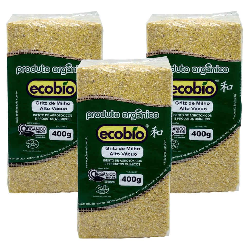 Gritz de Milho Orgânico 400g - Ecobio (Kit c/ 3 unidades)  - Raiz Nativa - Loja de Produtos Naturais e Orgânicos Online