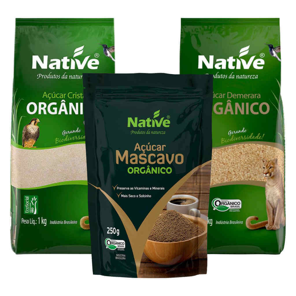 Kit Açúcares Orgânicos Native - Cristal, Mascavo e Demerara