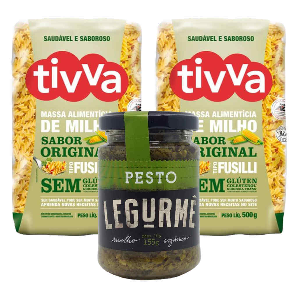 Kit Fusilli ao Molho Pesto Vegano - Tivva e Legurmê  - Raiz Nativa - Loja de Produtos Naturais e Orgânicos Online