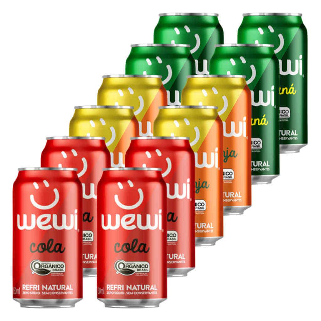Kit Refrigerante Orgânico Wewi Lata - Cola, Laranja e Guaraná (12 latas)