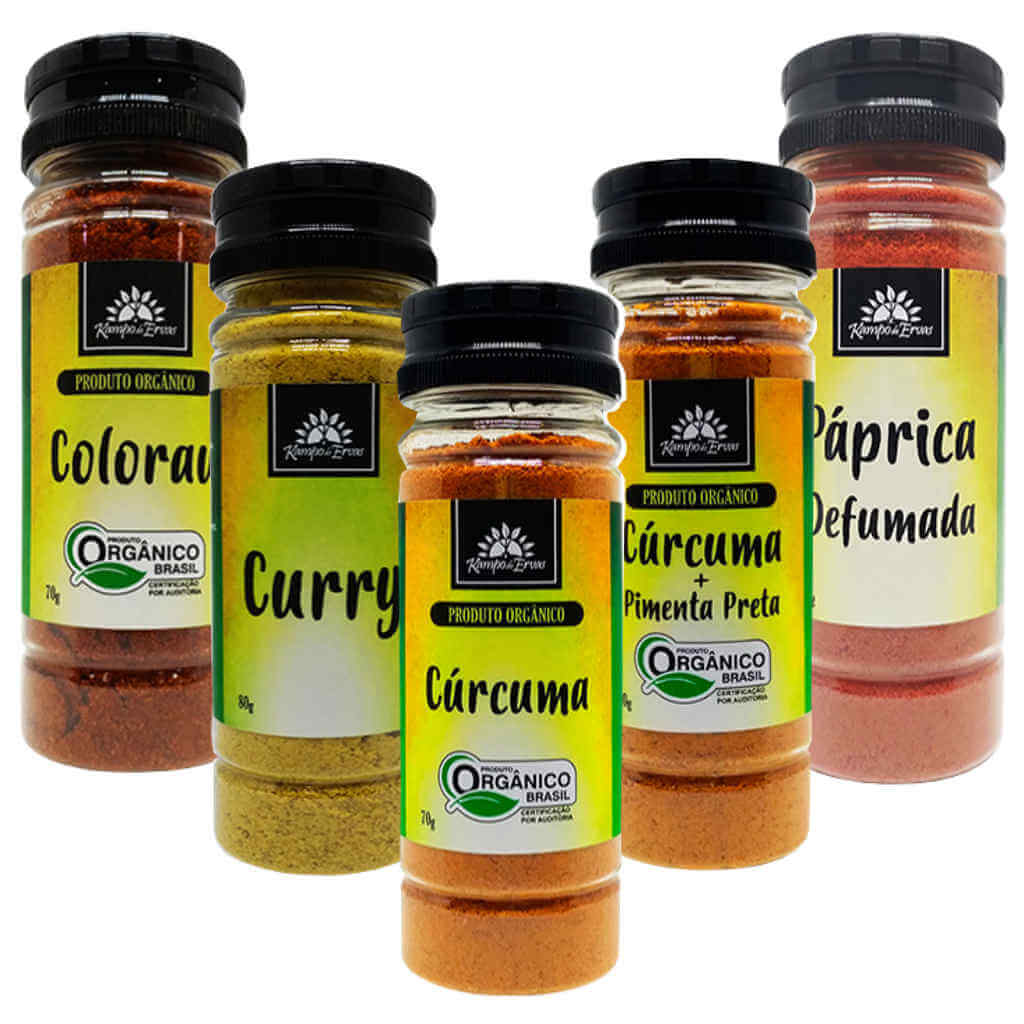 Kit Temperos Kampo de Ervas - Cúrcuma, Colorau, Curry e Páprica Picante