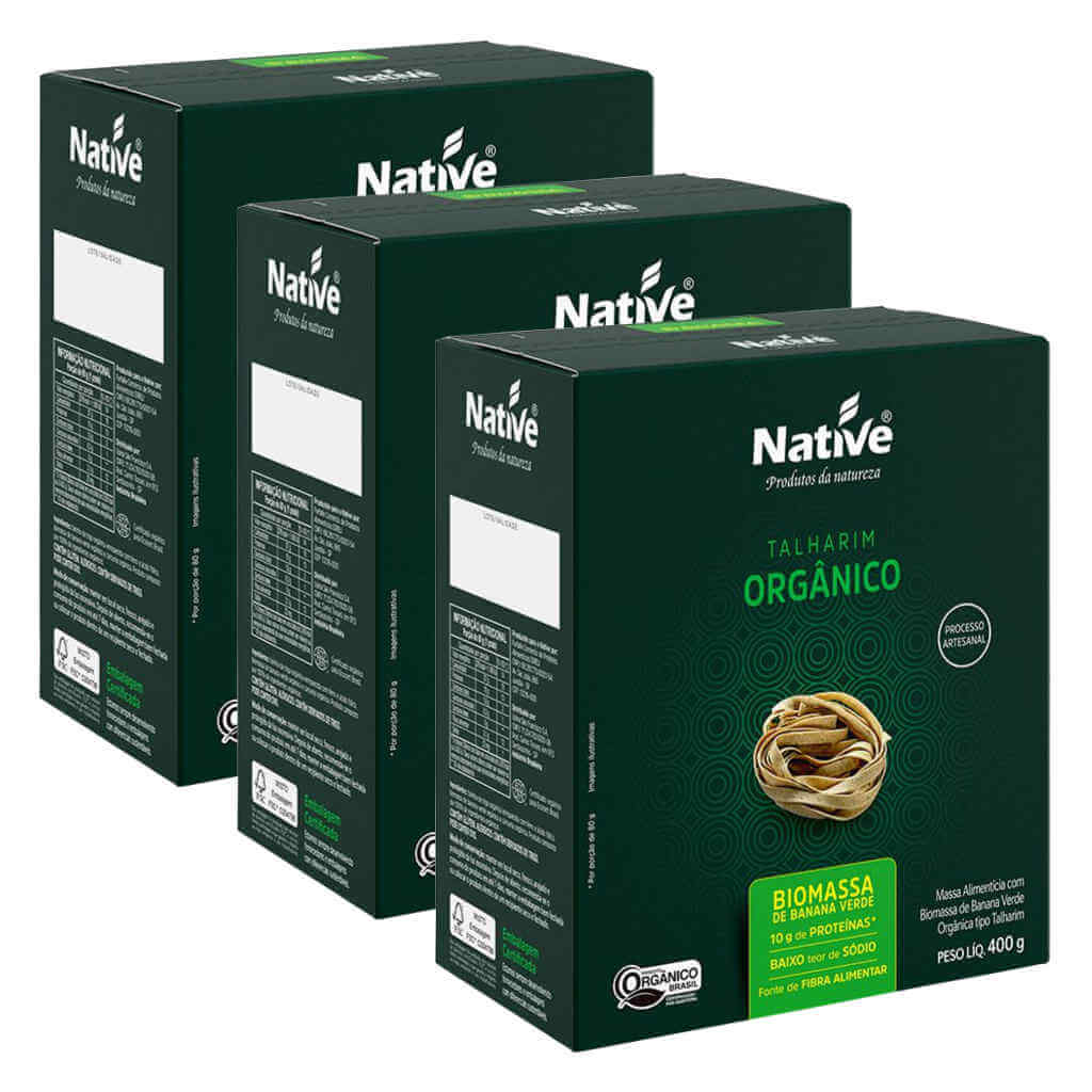 Macarrão Orgânico com Biomassa de Banana Verde 400g - Native (Kit c/ 3 unidades)