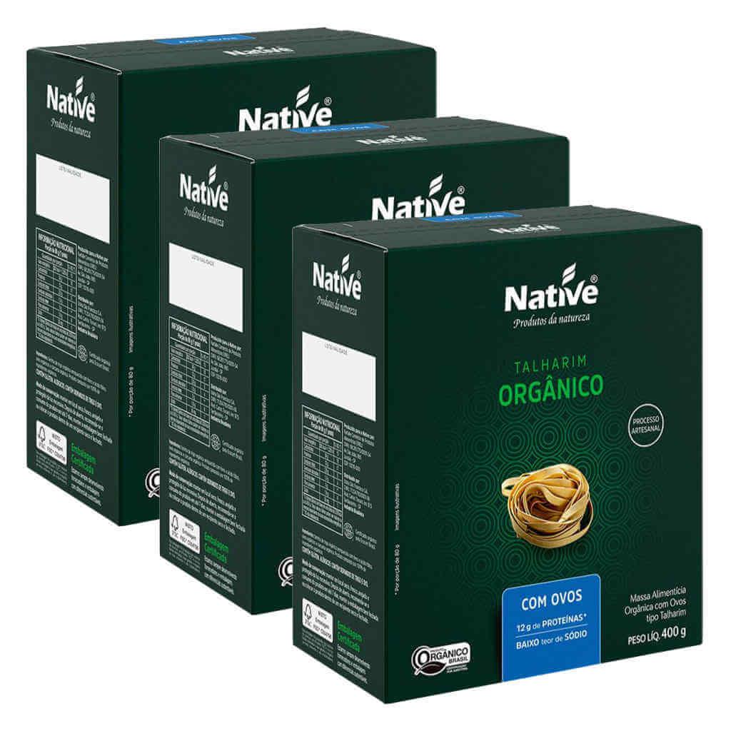 Macarrão Orgânico com Ovos 400g - Native (Kit c/ 3 unidades)