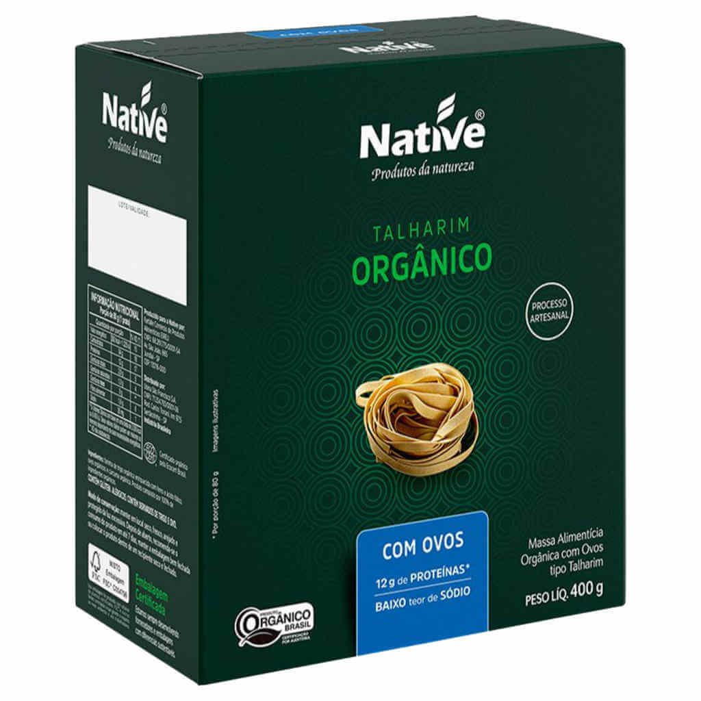Macarrão Orgânico com Ovos 400g - Native (Kit c/ 3 unidades)  - Raiz Nativa - Loja de Produtos Naturais e Orgânicos Online