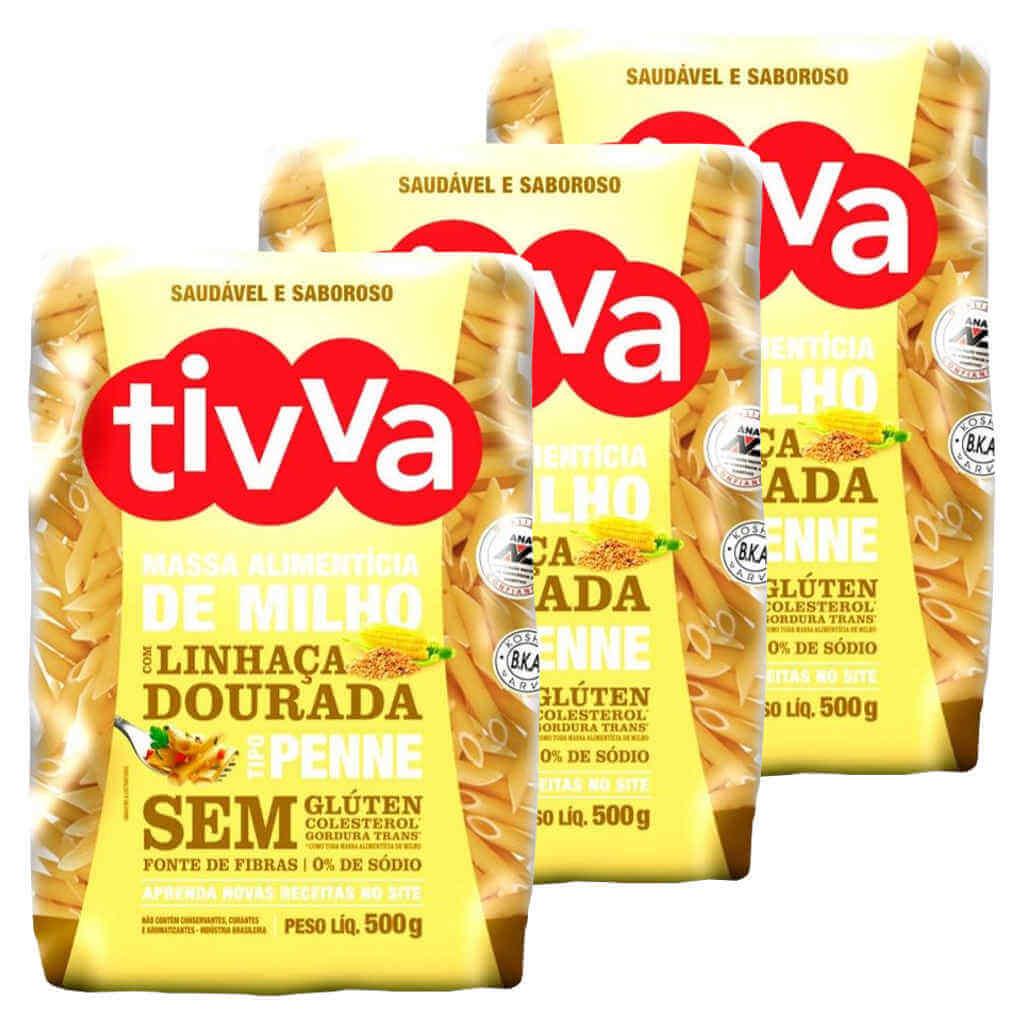 Macarrão Sem Glúten de Milho com Linhaça tipo Penne 500g - Tivva (Kit c/ 3)