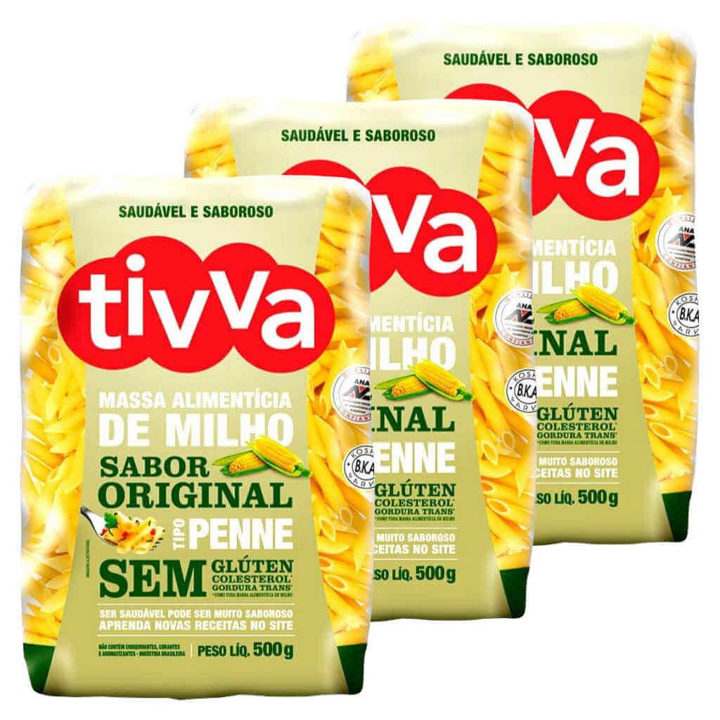 Macarrão Sem Glúten de Milho tipo Penne 500g - Tivva (Kit c/ 3 unidades)