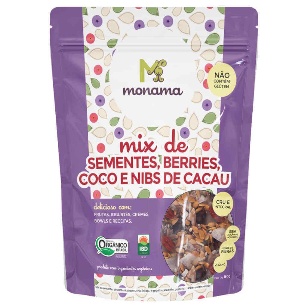 Mix de Sementes, Berries, Coco e Nibs de Cacau Orgânicas 190g - Monama