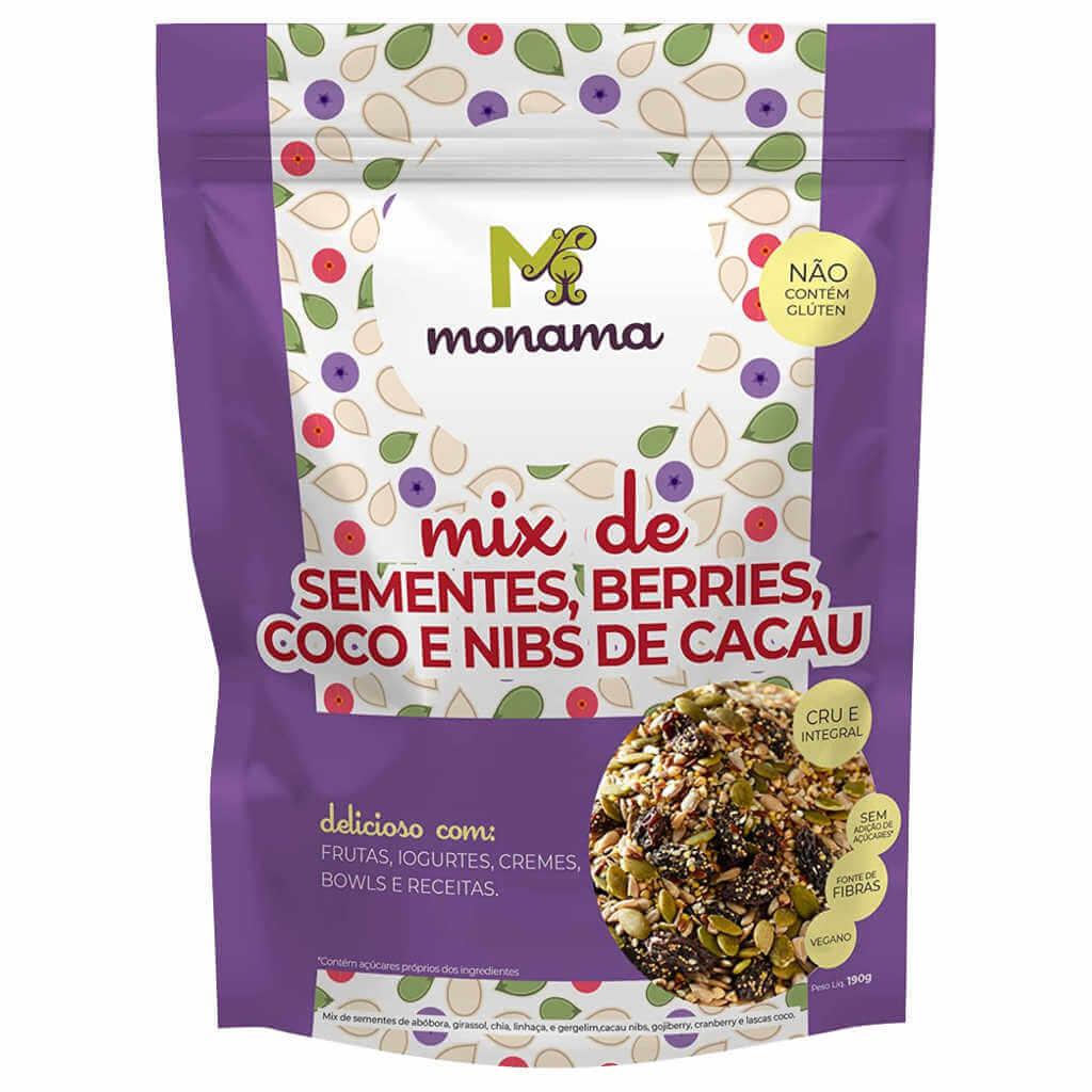 Mix de Sementes, Berries, Coco e Nibs de Cacau 190g - Monama  - Raiz Nativa - Loja de Produtos Naturais e Orgânicos Online
